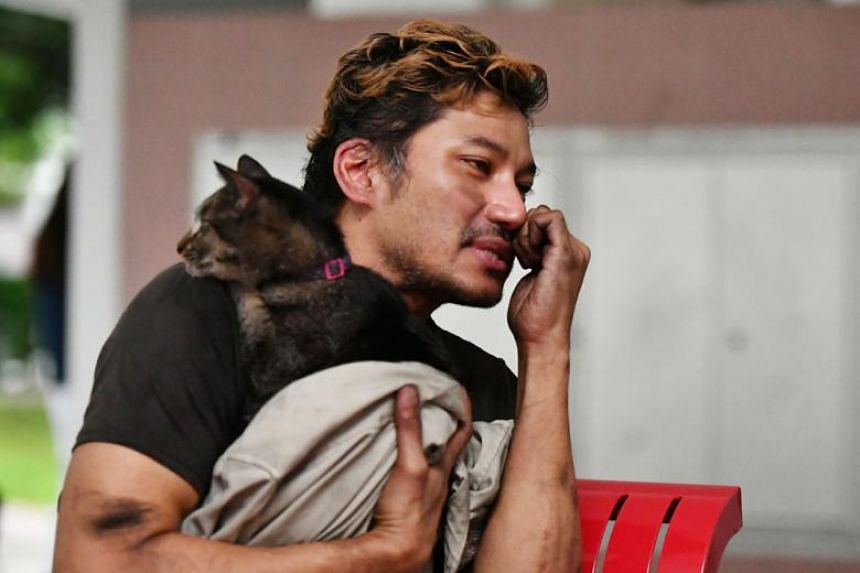 Mr Armand Rafi with one of his rescued cats.