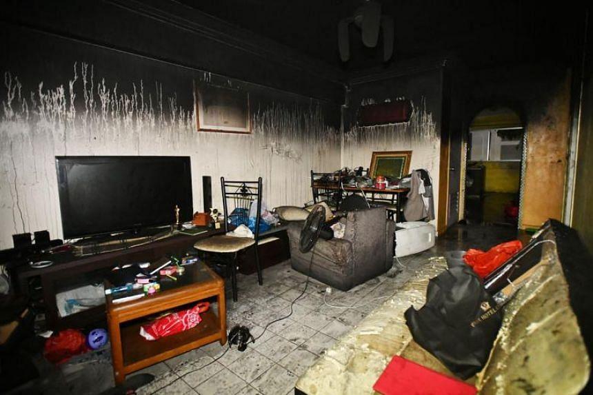 Mr Armand Rafi's flat after the fire.