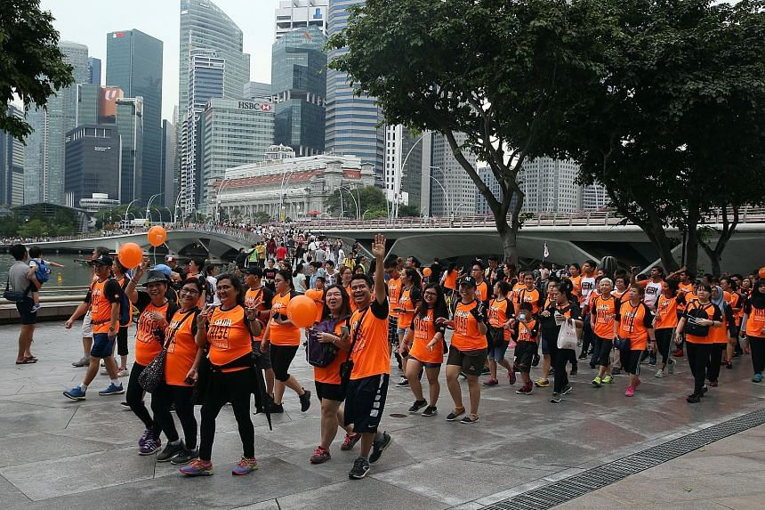 More than 2,500 participants walked 3.8km around the Marina Bay yesterday for the fifth edition of the Orange Ribbon Walk in support of the Rise Against Racism campaign. Organised by OnePeople.sg, a national body that promotes racial and religious ha