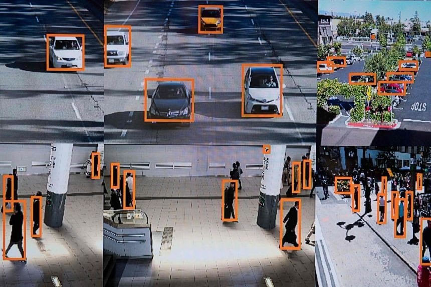A display shows a vehicle and person recognition system for law enforcement during the NVIDIA GPU Technology Conference in Washington.