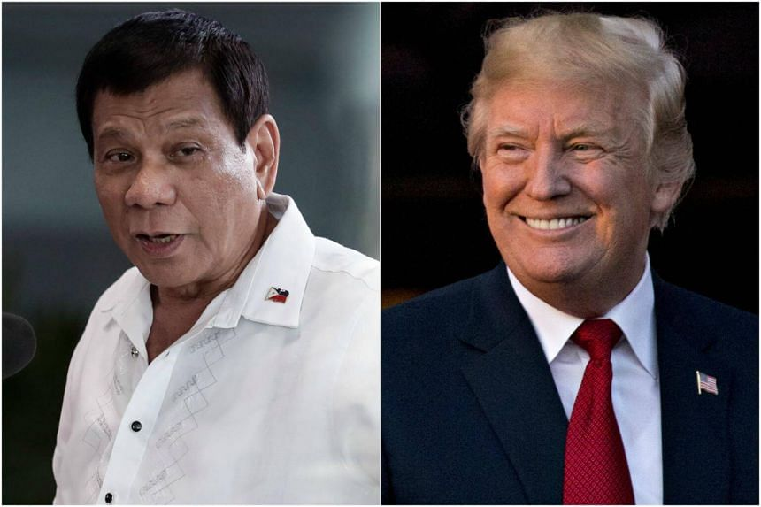 """Philippine President Rodrigo Duterte (left) said he was """"sure"""" Donald Trump would not raise human rights concerns when they meet in Manila, after the US President praised his deadly drug war."""