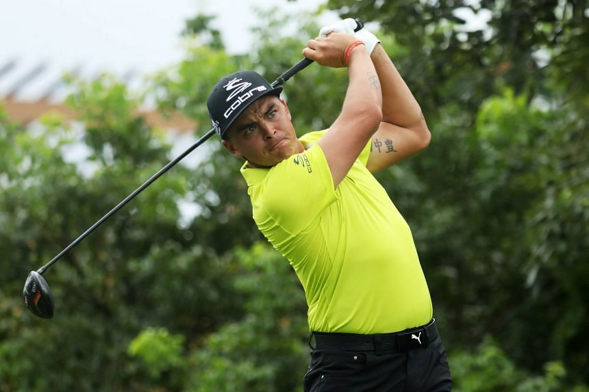 Golfer Rickie Folwer teeing off during the second round of the OHL Classic at Mayakoba in Playa del Carmen, Mexico, on Nov 11, 2017.