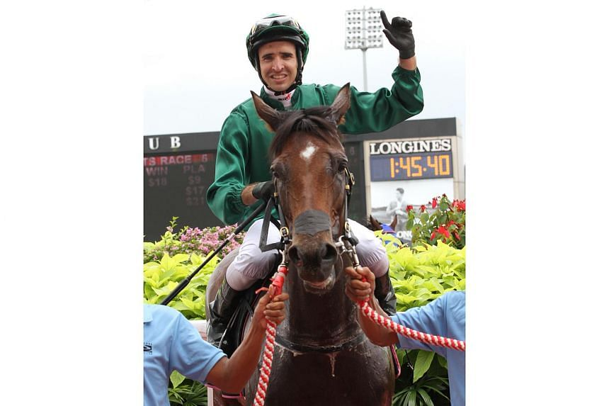 Gilt Complex, together with jockey Michael Rodd (pictured on March 6, 2017), was the first horse to win the rare Raffles Cup-Singapore Gold Cup double.