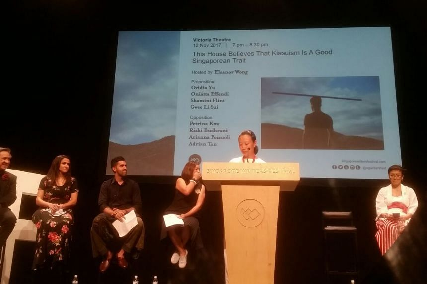 Writer Ovidia Yu kicking off the traditional closing debate of the Singapore Writers Festival at the Victoria Theatre on Nov 12, 2017.
