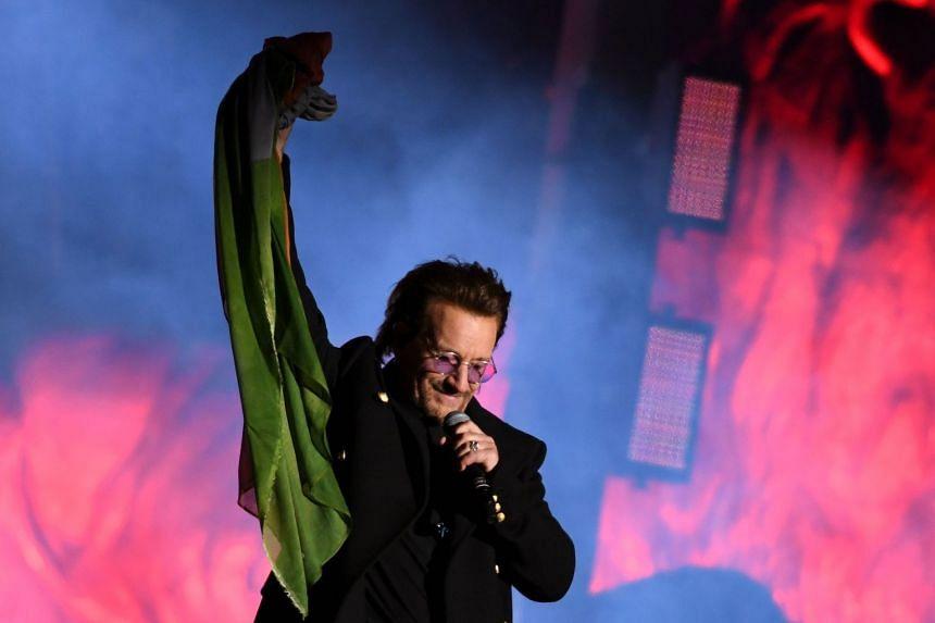 U2 frontman Bono performing with his band in Trafalgar Square in London on Nov 11, 2017.