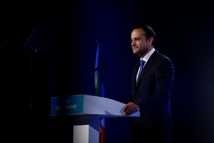 Prime Minister of Ireland Leo Varadkar speaks on stage during his opening address of the Fine Gael national party conference in Ballyconnell, Ireland, Nov 10, 2017. PHOTO: REUTERS