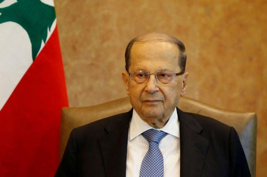 Lebanese President Michel Aoun is seen at the presidential palace in Baabda, Lebanon, on Nov 7, 2017.