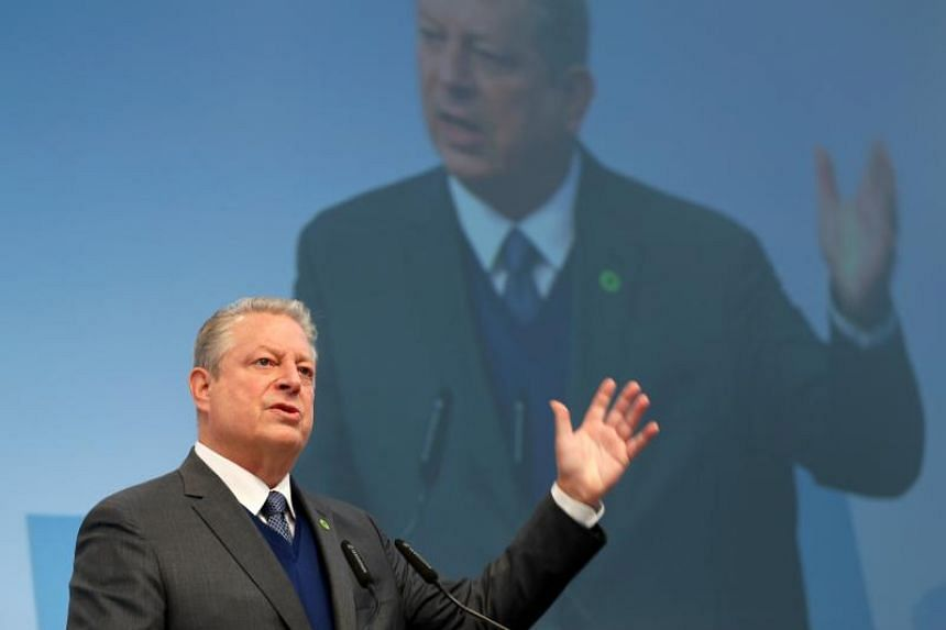 Al Gore speaks at the US Climate Action Center during the UN Climate Change Conference COP23 in Bonn, Germany, on Nov 11, 2017.