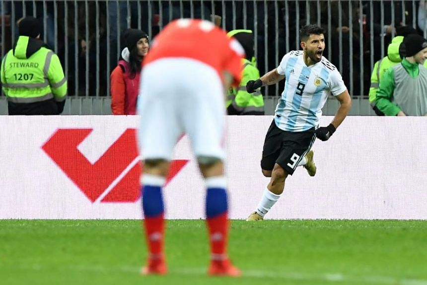 Argentina's Sergio Aguero celebrates after scoring a goal during an international friendly football match between Russia and Argentina at the Luzhniki stadium in Moscow on Nov 11, 2017.