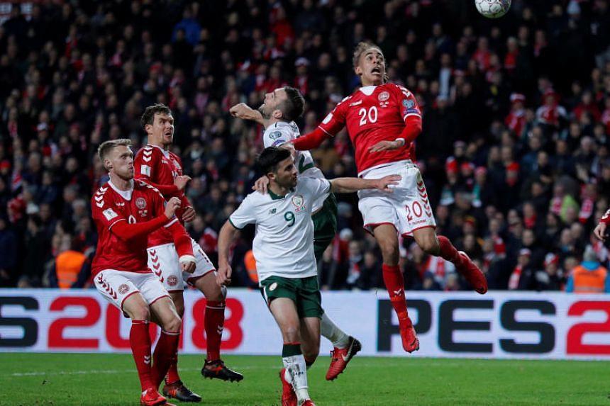 Denmark's Yussuf Poulsen in action at the 2018 World Cup qualifications between Denmark and the Republic of Ireland in Parken Stadium, Copenhagen, Denmark on Nov 11, 2017.
