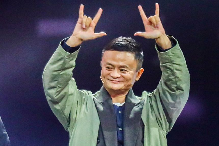 Alibaba founder Jack Ma gesturing to fans during the Tmall 11.11 Global Shopping Festival gala in Shanghai yesterday.