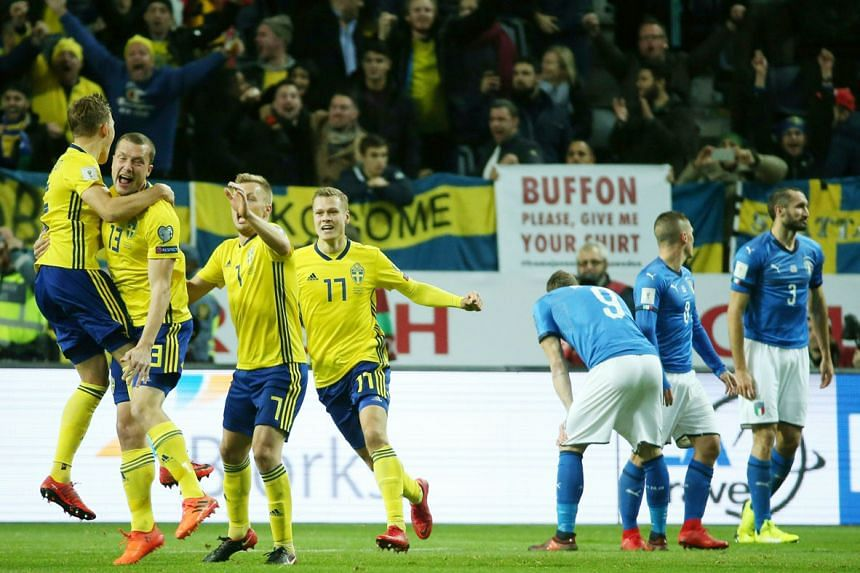 Sweden midfielder Jakob Johansson (No. 13) celebrating his goal which took a wicked deflection off Italy's Daniele De Rossi. The four-time champions have it all to do in the second leg in Milan tomorrow.