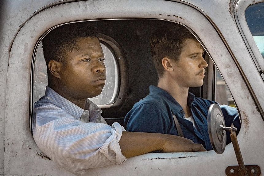 Mudbound, which stars Jason Mitchell (left) and Garrett Hedlund, grapples with violence, racism and poverty.
