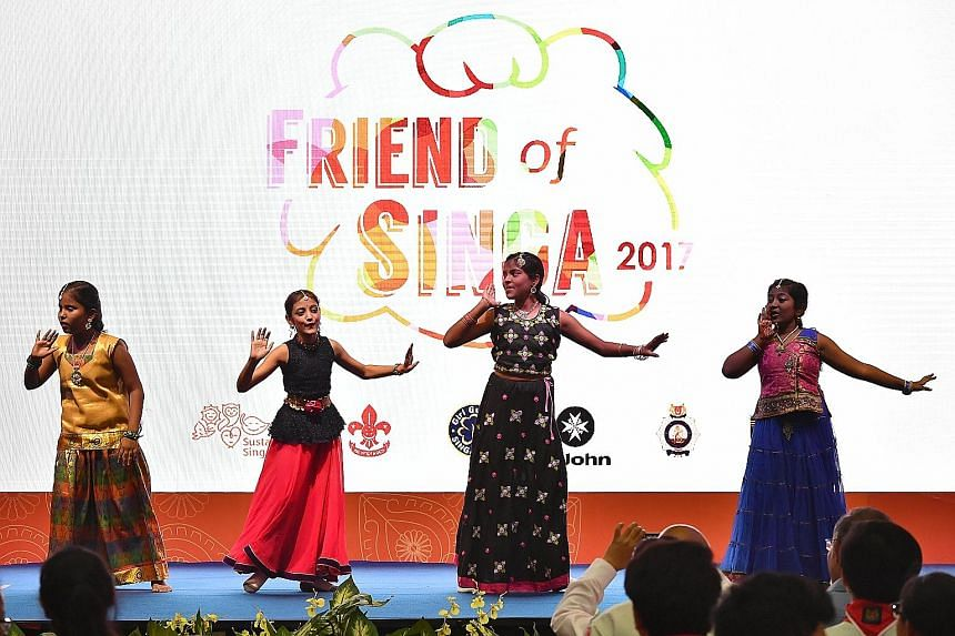 Pupils from Global Indian International School, Queenstown Campus (Primary), performing an Indian folk dance at the Kindness Awards ceremony last Friday. This year, 30 schools won the Friend of Singa award, which is named after courtesy mascot Singa