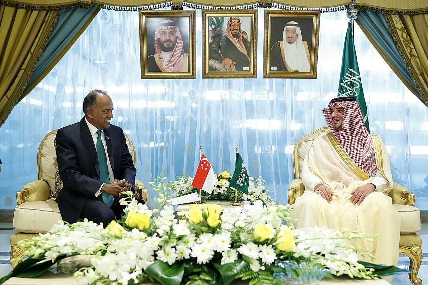 Home Affairs and Law Minister K. Shanmugam with Saudi Arabia's Interior Minister Abdulaziz bin Saud bin Nayef in Riyadh yesterday, where they discussed issues related to bilateral security cooperation as well as the global terrorism threat.