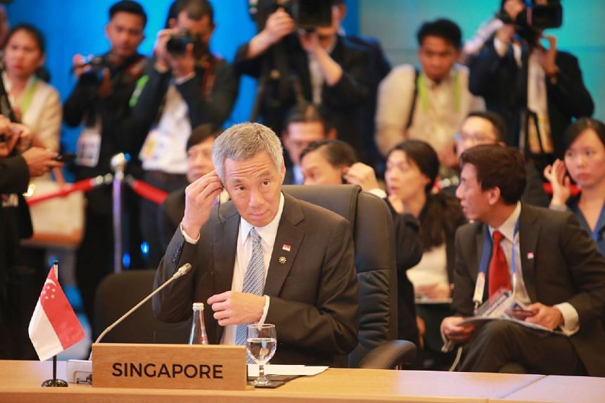 Prime Minister Lee Hsien Loong delivered the Asean statement regarding the South China Sea talks during the Asean-China Summit.