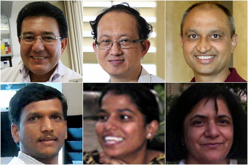 Academics who produced flawed papers include (clockwise from top left) Alirio Melendez, Dr Noel Chia, Dr Ravi Kambadur, Dr Mridula Sharma, Sabeera Bonala and Sudarsanareddy Lokireddy.