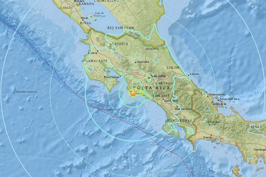 A strong 6.5 magnitude quake struck the Pacific coast of Costa Rica near its capital city San Jose on Sunday night, but there were no initial reports of injuries or significant damage to infrastructure.