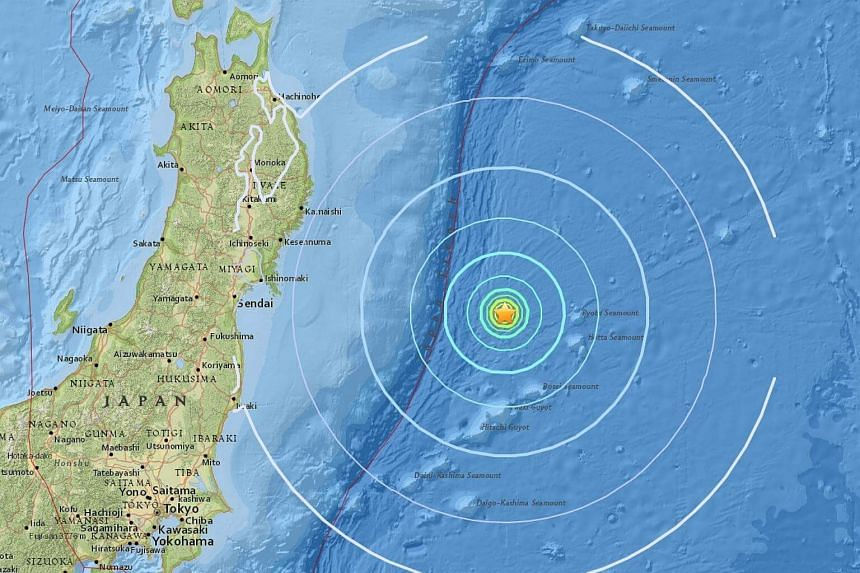 A magnitude 5.8 quake struck off the east coast of Japan on Monday.