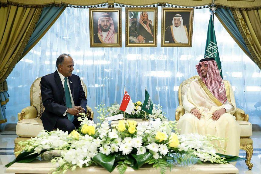 Singapore Minister for Home Affairs and Law K. Shanmugam met Saudi Arabia's Interior Minister Abdulaziz bin Saud bin Nayef in Riyadh on Sunday (Nov 12).
