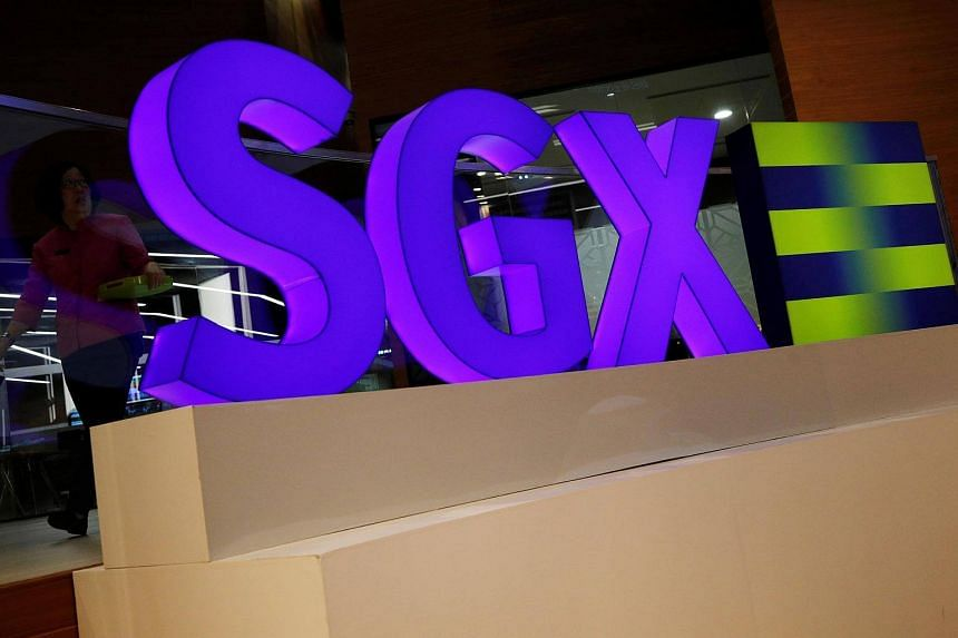An SGX sign is pictured at Singapore Stock Exchange.