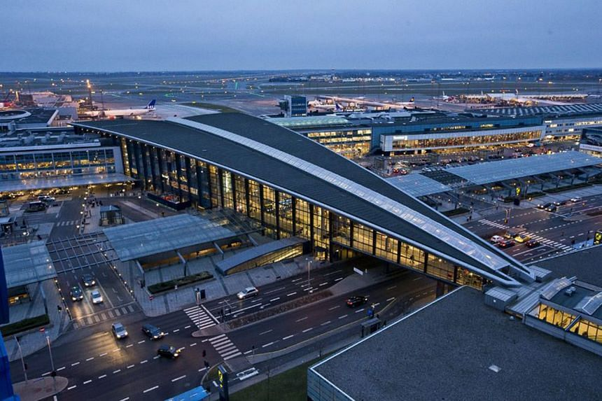 Authorities briefly closed ten gates at Copenhagen airport (above) due to investigation, but these were later reopened.