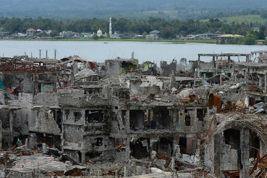 Bombed-out buildings inside of what was the main battle area between the Philippines' government troops and ISIS-inspired Muslim militants in Marawi, Lanao del Sur province, on the southern island of Mindanao, on Oct 25, 2017.