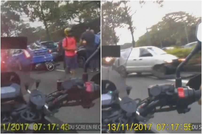 A chain collision involving 12 vehicles caused a jam along the PIE on Nov 13, 2017 in the morning.