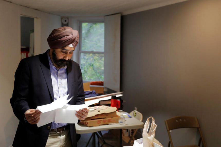 New Jersey Mayor-elect Ravi Bhalla works at his campaign headquarters in Hoboken, New Jersey, US on Nov 9, 2017.