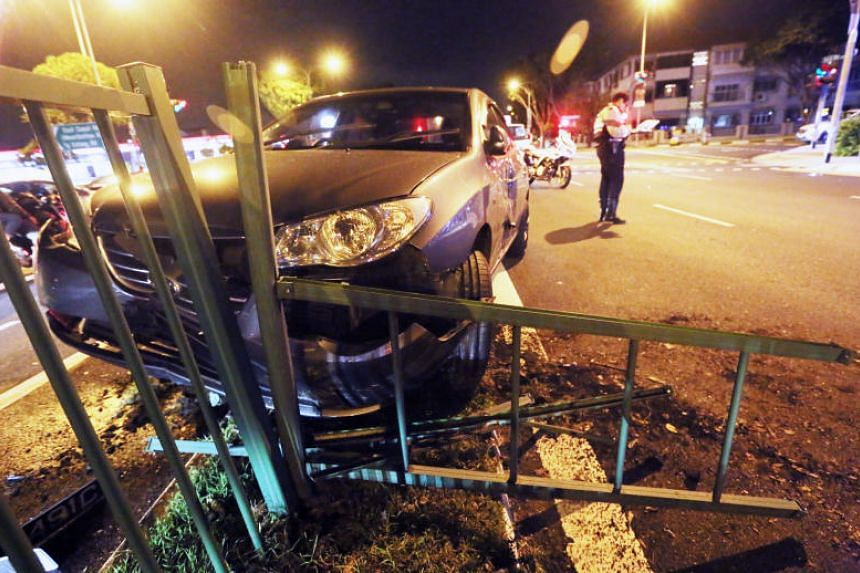 The blue car ended up on the divider. The driver of the other vehicle was arrested for drink driving.