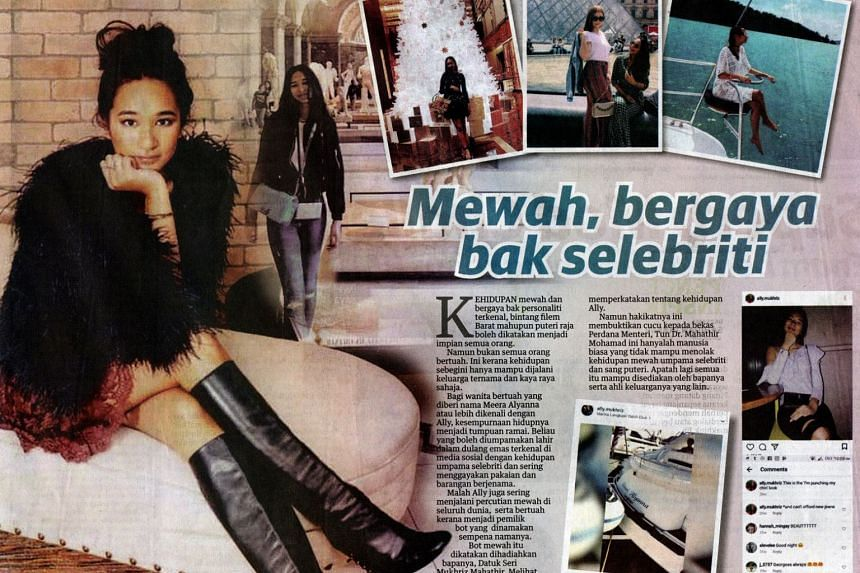 Utusan Malaysia (above) and Berita Harian carried social media pictures of Meera Alyana Mukhriz on Sunday (Nov 12), claiming in their articles that she lived a celebrity lifestyle.