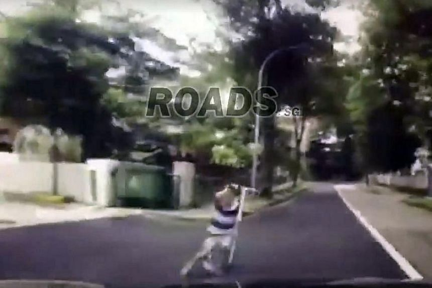 A recent viral video in October showed a six-year-old boy dashing across Leedon Road and being hit by a car. The boy was flung off his kick scooter.