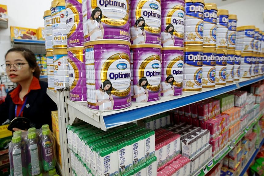 Vinamilk's products displayed for sale at a shop in Hanoi on Aug 4, 2017. Jardine Cycle & Carriage has secured a 5.53 per cent stake in the leading Vietnamese dairy producer.
