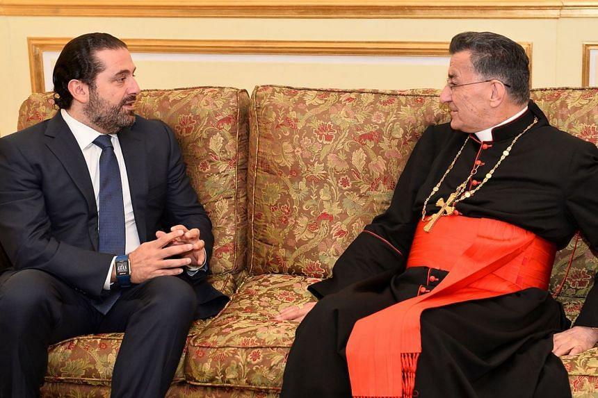 Lebanon's resigned prime minister Saad Hariri meets with Lebanon's Christian Maronite Patriarch in Riyadh on Nov 14, 2017.