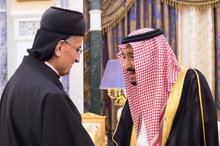 Saudi Arabia's King Salman bin Abdulaziz Al Saud meets with Lebanon's Christian Maronite Patriarch in Riyadh on Nov 14, 2017.