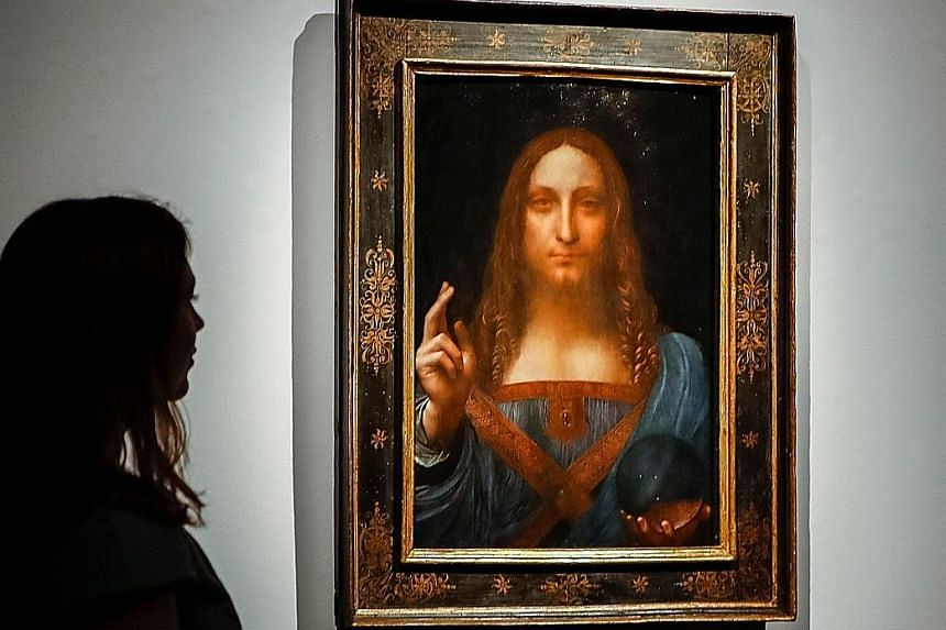 Left: Salvator Mundi, one of fewer than 20 known paintings by Leonardo da Vinci and the only one in private hands, will be offered for sale in Christie's auction in New York. It is estimated to sell at about US$100 million. Below: A triptych depictin