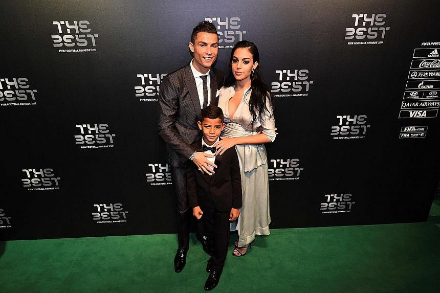 Cristiano Ronaldo with partner Georgina Rodriguez and his first child Cristiano Jr. Rodriguez gave birth to a baby girl, Alana Martina, on Sunday. He is also the father of surrogate twins Eva and Mateo.