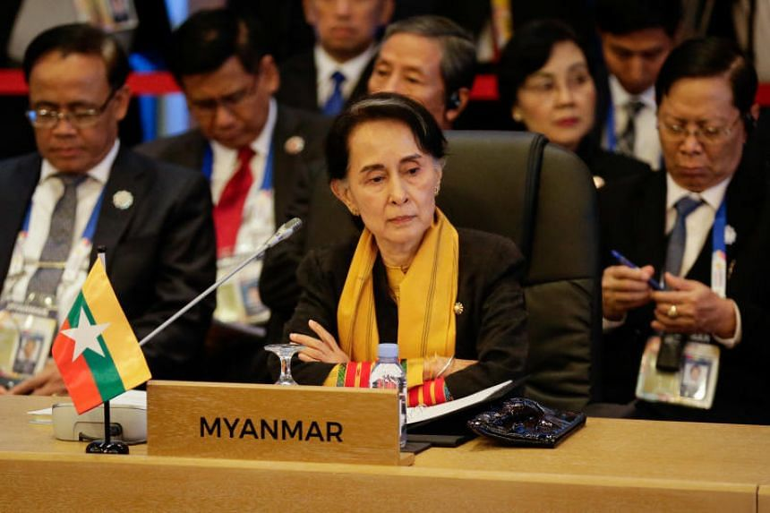 Myanmar's Foreign Minister Aung San Suu Kyi looks on during the 9th Asean-UN Summit on the sideline of the Asean Summit in Manila on Nov 13, 2017.