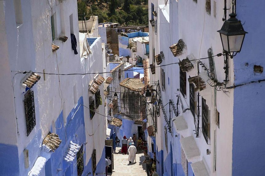 A view of the steps in the Medina of the northwestern Moroccan city of  Chefchaouen.