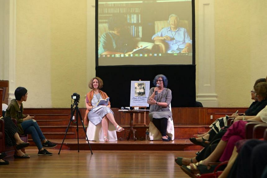 Jean Marshall's daughter (left) and the book's editor, Ms Mandakini Arora, at the launch of Pahang Letters, 1953-54: Sidelights On Malaya During The Emergency at The Arts House on Nov 14, 2017.