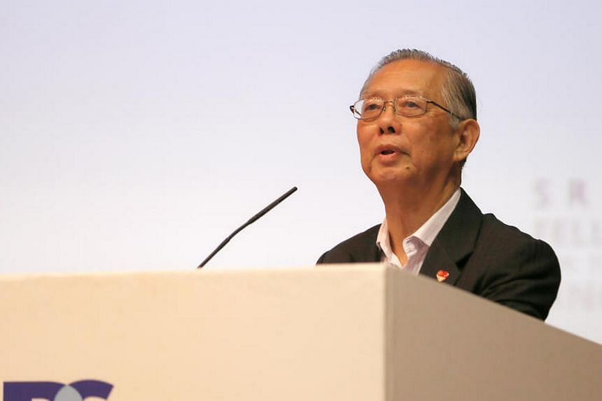Former head of civil service Lim Siong Guan doing his second lecture as IPS Nathan Fellow at Auditorium, Shaw Foundation Alumni House, NUS, on Oct 10, 2017.