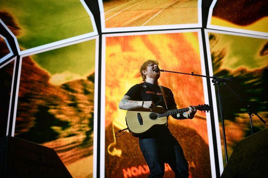 Ed Sheeran performing at the Singapore Indoor Stadium on Nov 11, 2017.