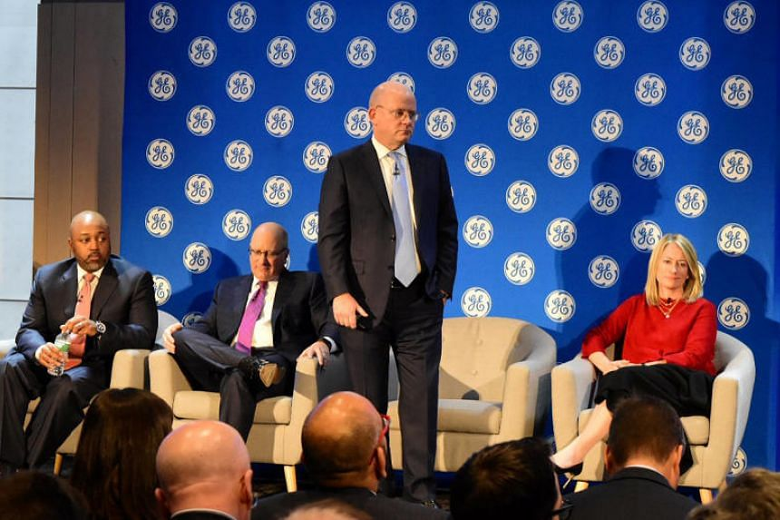 General Electric Chief Executive Officer John Flannery presents the company's new strategy and financial targets to investors at a meeting in New York, US on Nov 13, 2017.