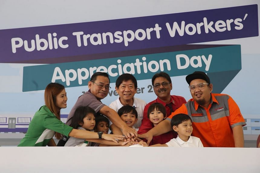Transport Minister Khaw Boon Wan, representatives from public transport operators and pre-school children at the launch of the Public Transport Workers' Appreciation Day.