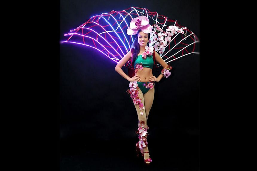 Miss Manuela Bruntraeger in Singapore's national costume. This is the first time Singapore will be having LED lights on their national costume for Miss Universe.