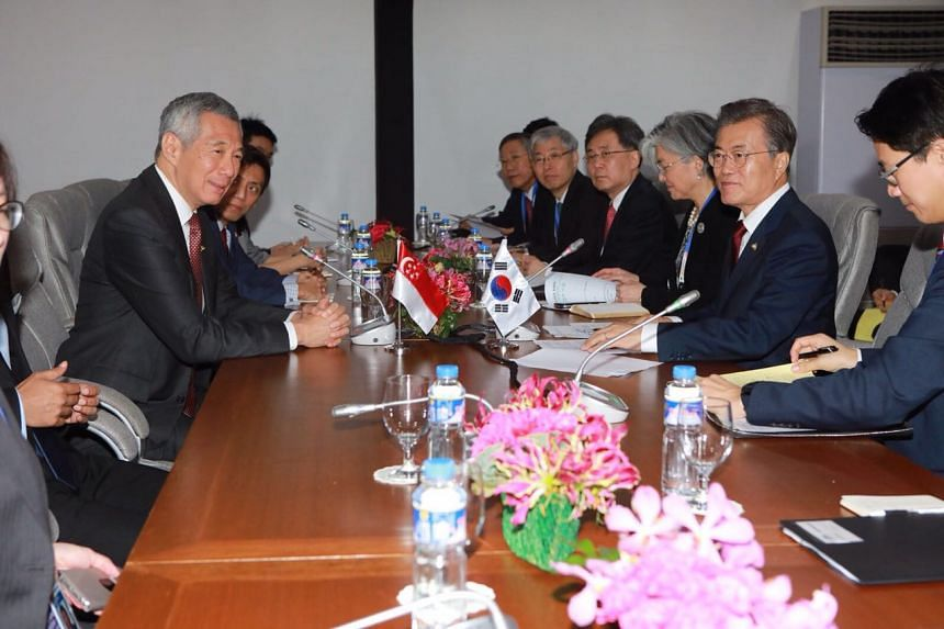 PM Lee Hsien Loong attends a bilateral meeting with South Korean president Moon Jae In.