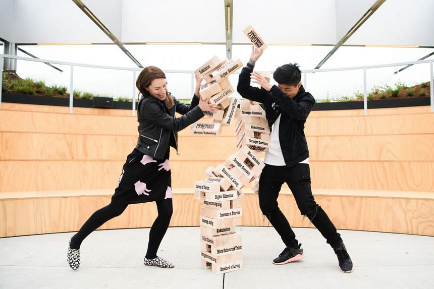 """One anticipated work at Singapore Art Week 2018 is Progress: The Game Of Leaders designed by the """"Sticker Lady"""", urban artist Samantha Lo."""