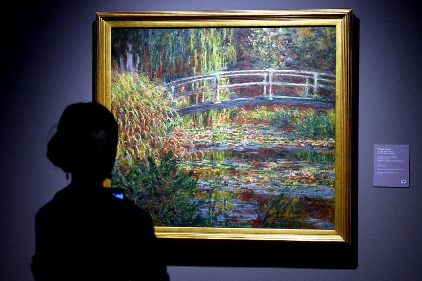 This is one of 12 paintings Claude Monet made of a pond in his garden at Giverny from the same vantage point, but under different lighting conditions.