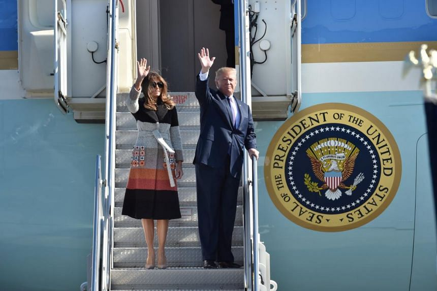 President Donald Trump and his wife Melania arrive at Yokota Air Base in Tokyo, Japan.