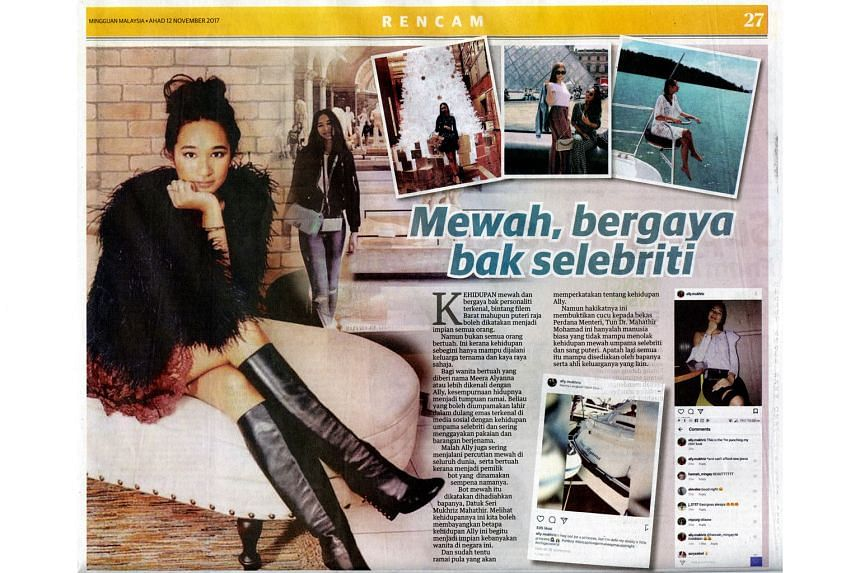 Malay language daily Utusan Malaysia on Sunday splashed photos of Ms Meera Alyana Mukhriz, alleging her lavish lifestyle and claiming that she travels around the world in a boat which is named after her and given to her by her father.